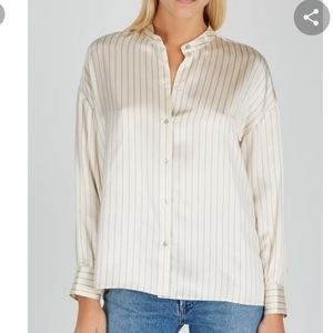 VINCE Cream Striped Silk Button Down Shirt NWT